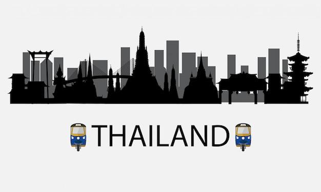 Silhueta para bangkok na tailândia e marcos e lugar de viagem Vetor Premium