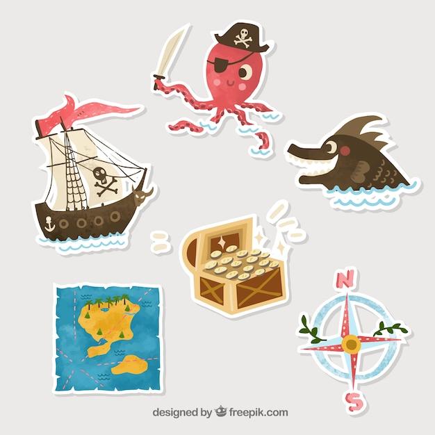 Silhueta pirata stickers Vetor grátis