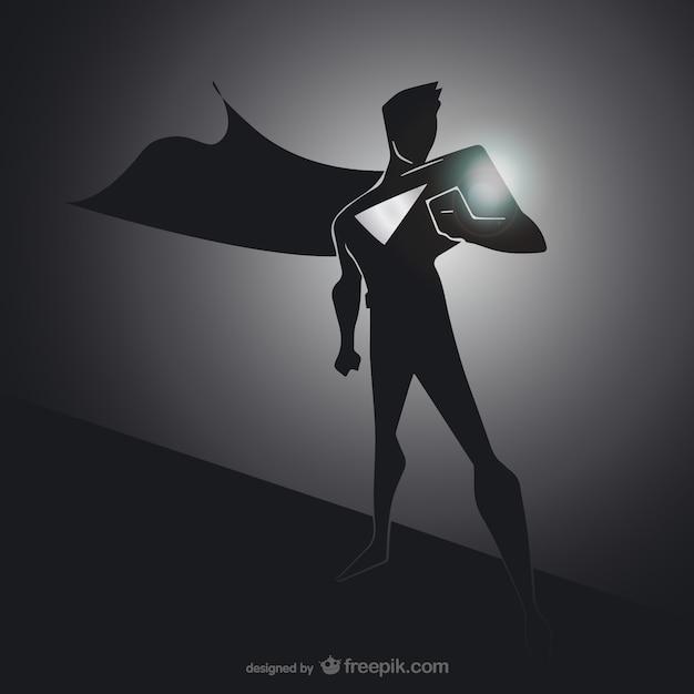 Silhueta preta de super-heróis Vetor grátis