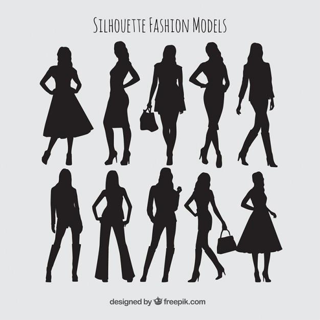 1f7c10ac0 Silhuetas coleção modelos de moda Vetor grátis