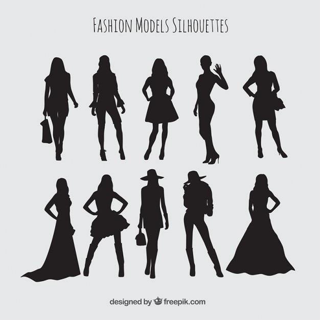 Silhuetas conjunto de modelos vestindo roupas elegantes Vetor Premium