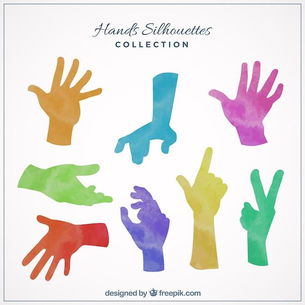Silhuetas da mão coloridos Vetor grátis
