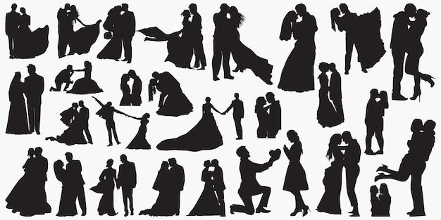 Silhuetas de amor de casamento Vetor Premium