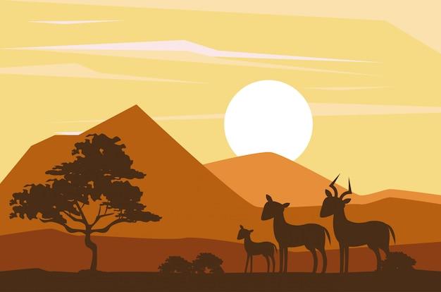 Silhuetas de animais africanos Vetor Premium