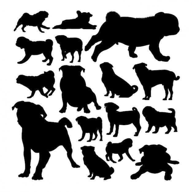 Silhuetas de animais cão pug Vetor Premium