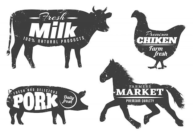 Silhuetas de animais com citações de fazenda Vetor grátis