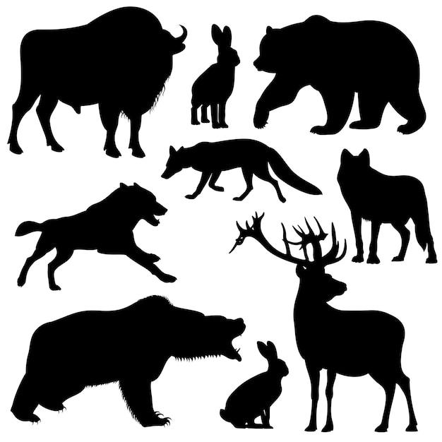 Silhuetas de animais de floresta selvagem de contorno preto vector Vetor Premium