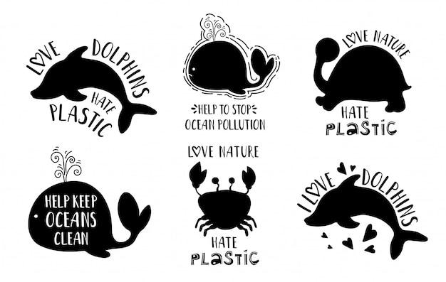 Silhuetas de animais do mar negro e letras Vetor Premium