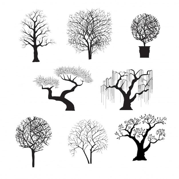 Silhuetas de árvores para design Vetor Premium