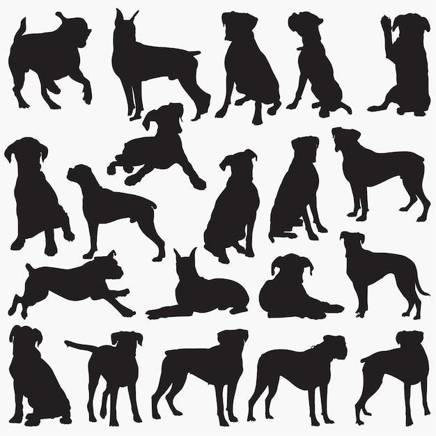 Silhuetas de cachorro boxer Vetor Premium