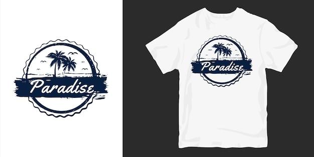 Silhuetas de camisetas paradise Vetor Premium