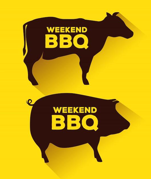 Silhuetas de carne de porco e carne Vetor grátis