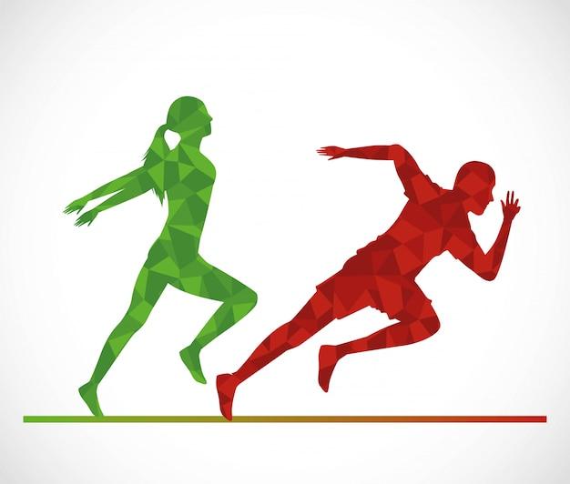 Silhuetas de casal de atletismo correndo Vetor Premium