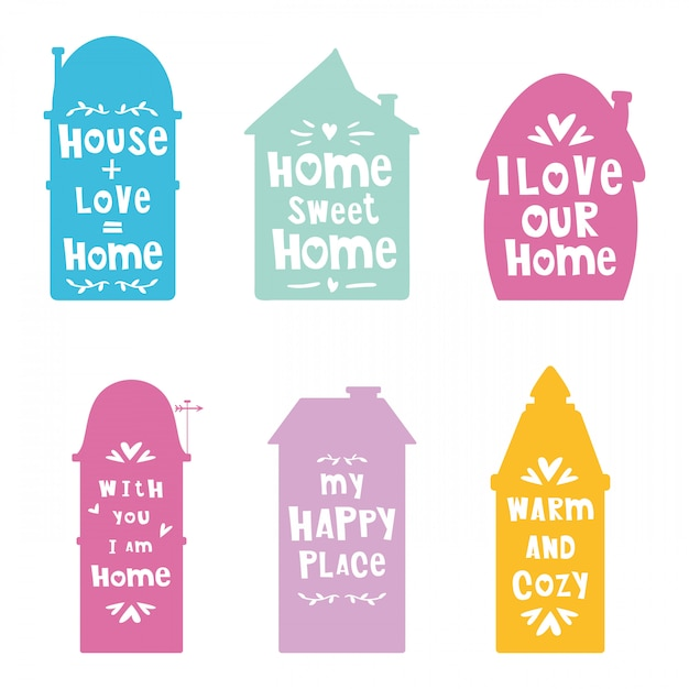 Silhuetas de casas com letras, frases Vetor Premium