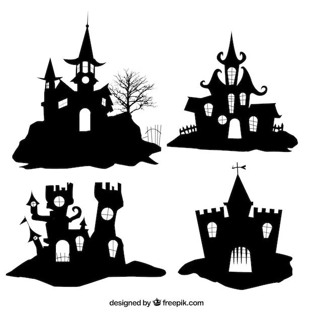 Silhuetas de casas de halloween Vetor Premium