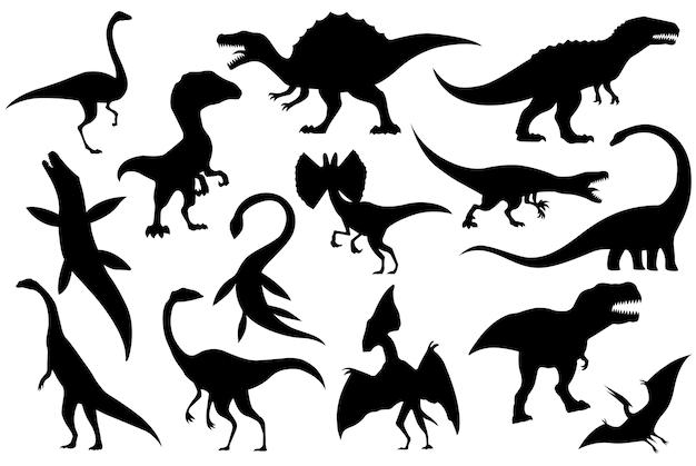 Silhuetas de coleção de esqueletos de dinossauros. Vetor Premium