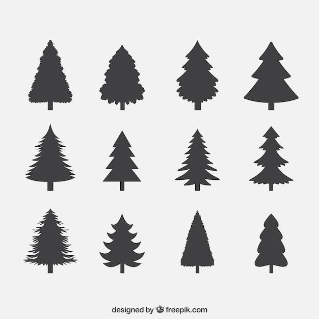 Silhuetas de coleta de pinheiros Vetor grátis