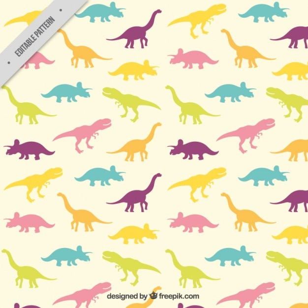 Silhuetas de dinossauros coloridos Vetor Premium