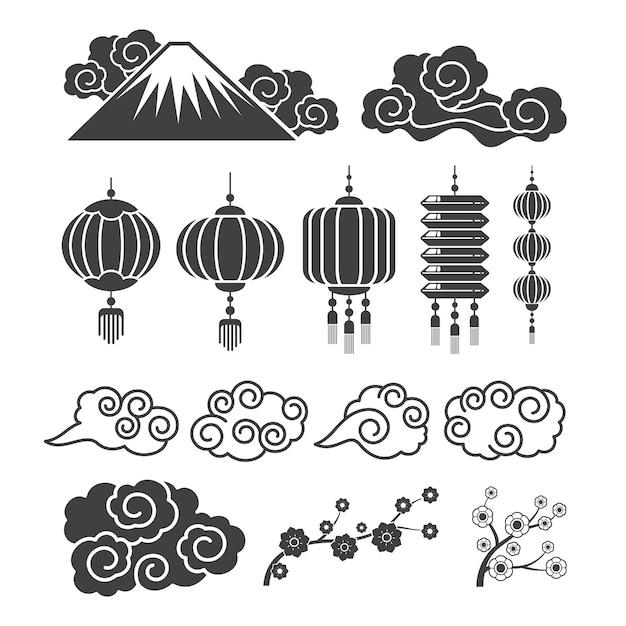 Silhuetas de elementos asiáticos vintage. lâmpadas chinesas ou japonesas tradicionais, flores, nuvens Vetor Premium