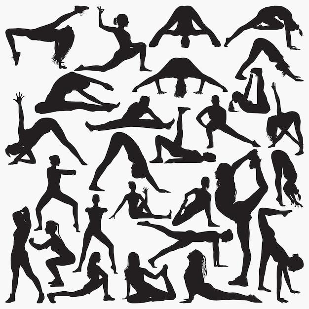 Silhuetas de exercício de ioga de mulher Vetor Premium
