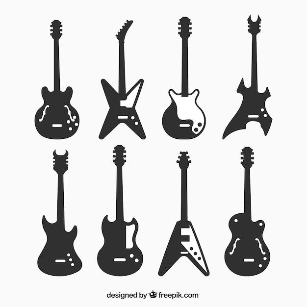 Silhuetas de guitarras elétricas decorativas Vetor Premium