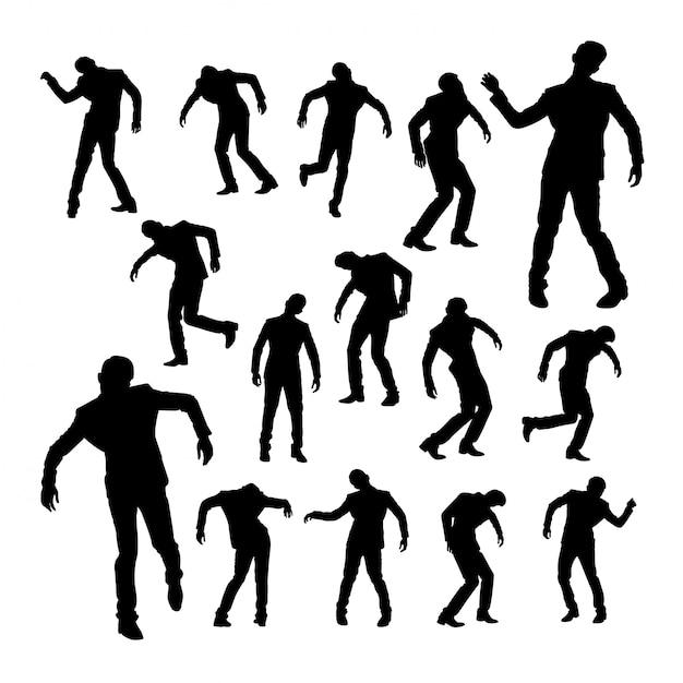 Silhuetas, de, homem dança Vetor Premium