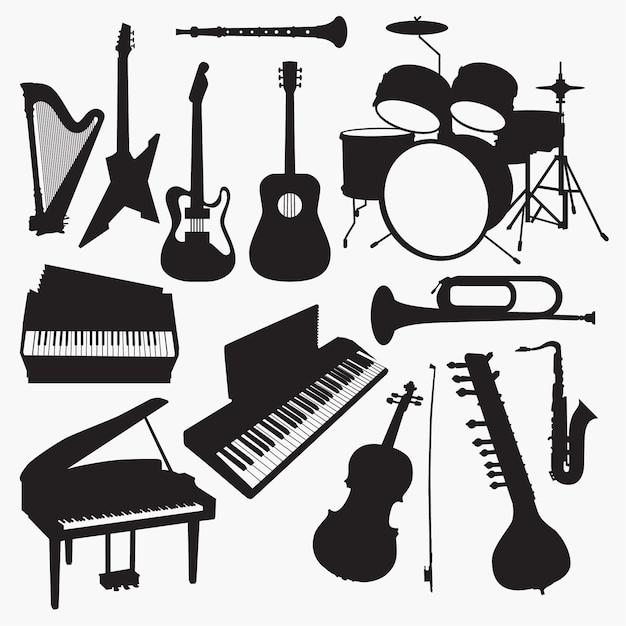 Silhuetas de instrumentos musicais Vetor Premium