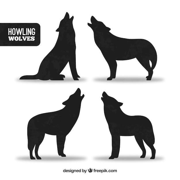 silhuetas de lobos uivando baixar vetores grátis