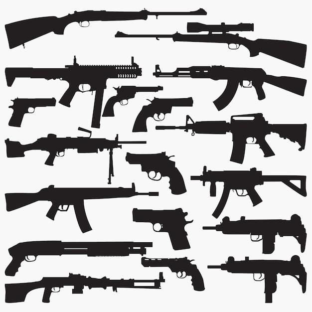 Silhuetas de metralhadoras Vetor Premium