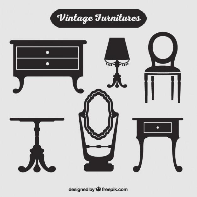 Silhuetas de mobiliário vintage Vetor grátis