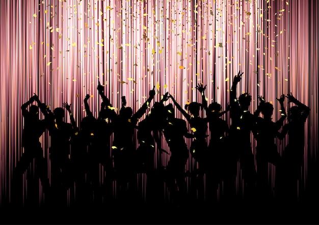 Silhuetas de multidão de festa com confetes Vetor Premium