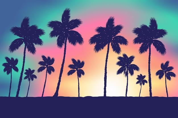 Silhuetas de palmeiras de fundo colorido Vetor grátis