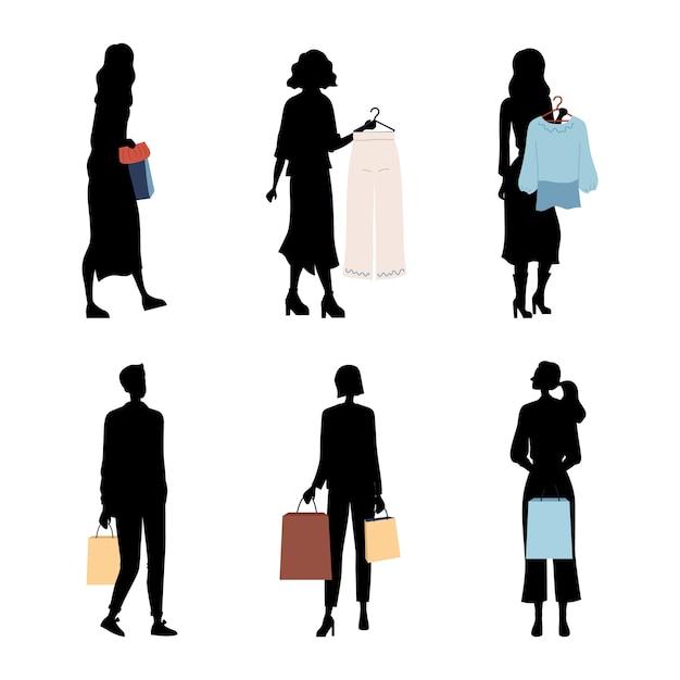 Silhuetas de pessoas da moda, compradores ou clientes com roupas da moda. personagens fazem compras, compras. homens e mulheres segurando roupas, bolsas com compras. Vetor Premium