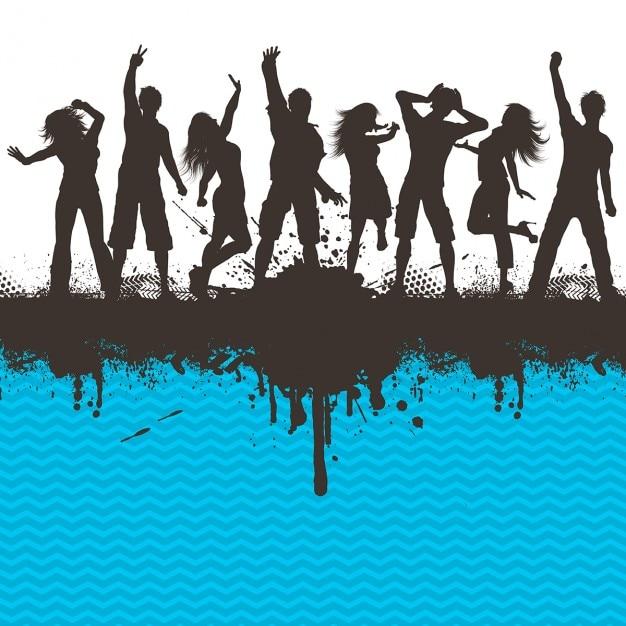 Silhuetas de pessoas dançando em um chevron fundo listrado grunge Vetor grátis