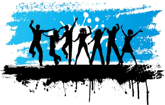 Silhuetas de pessoas dançando em um fundo grunge Vetor grátis