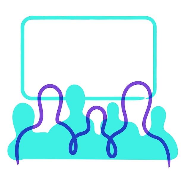 Silhuetas de pessoas na frente de uma tela em branco Vetor Premium