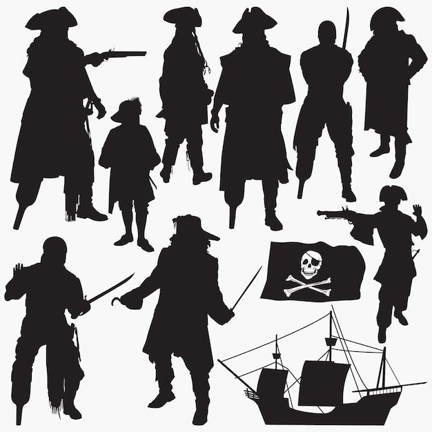 Silhuetas de piratas Vetor Premium