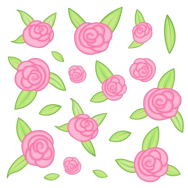 Silhuetas de rosas isoladas no fundo branco Vetor Premium