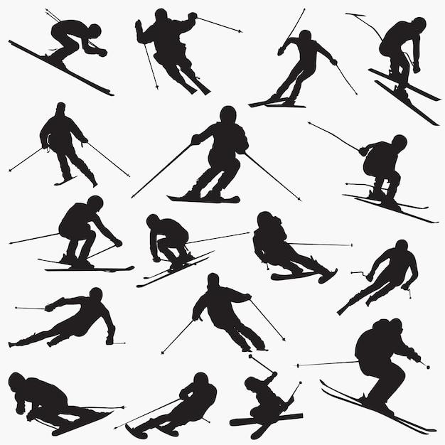 Silhuetas de ski Vetor Premium