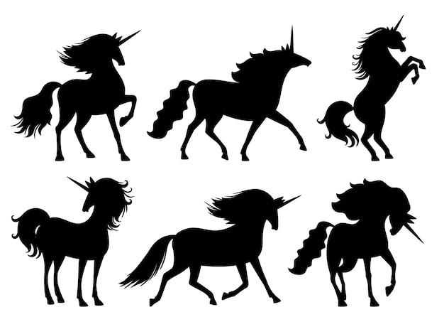 Silhuetas de unicórnio. conjunto de silhueta de unicórnios de vetor isolado no cavalo branco, misterioso animal, decoração de scrapbook bonito espírito mito horsy Vetor Premium