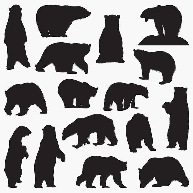 Silhuetas de urso polar Vetor Premium