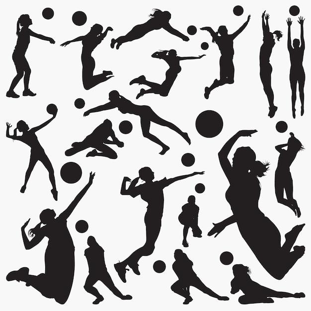 Silhuetas de voleibol Vetor Premium