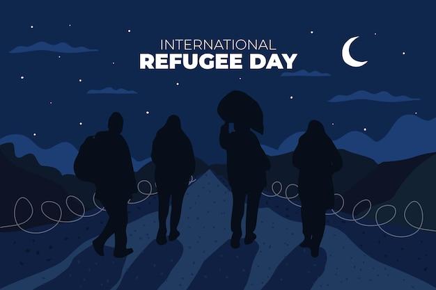 Silhuetas desenha o dia mundial dos refugiados Vetor grátis