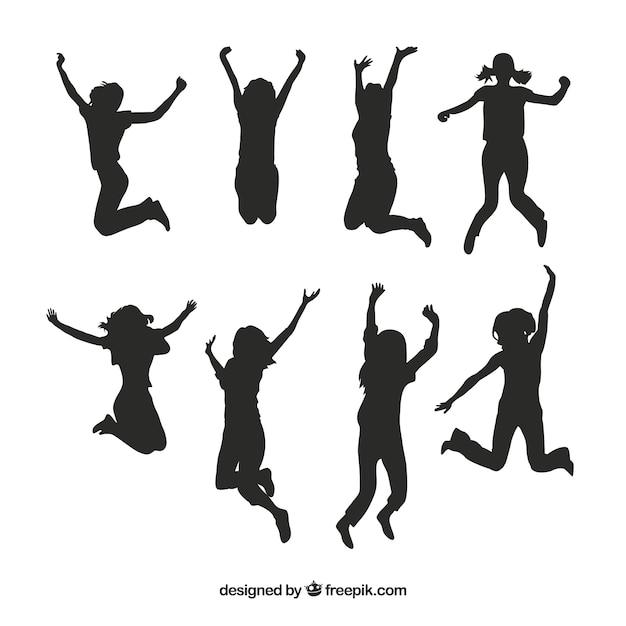 Silhuetas dos miúdos pulando vector pack Vetor grátis