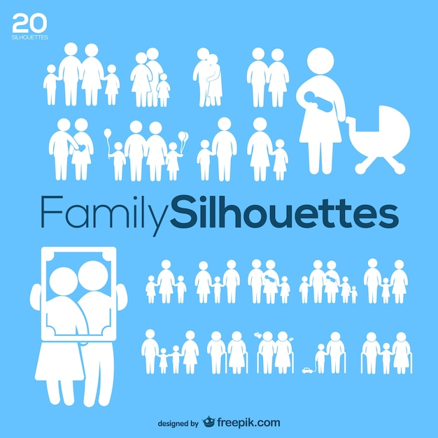 Silhuetas family pack vector Vetor grátis