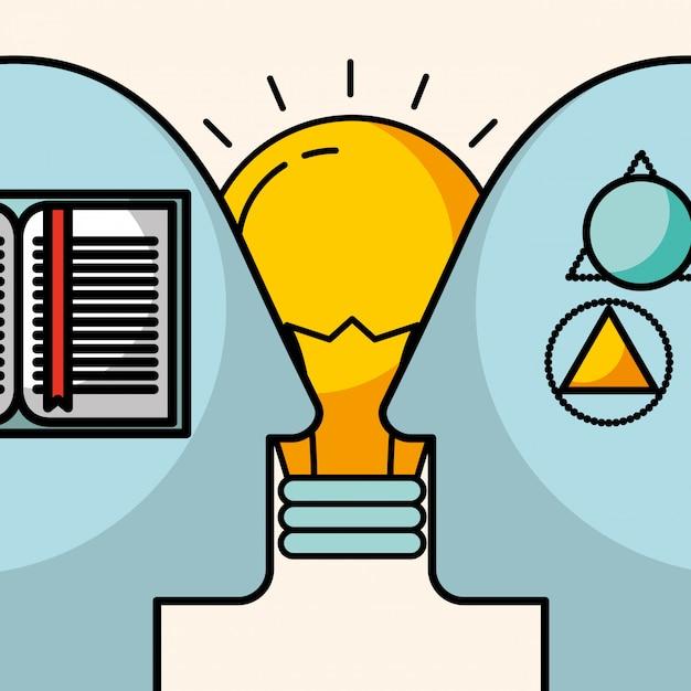 Silhuetas homem cabeça criatividade idéia aprender conhecimento Vetor Premium