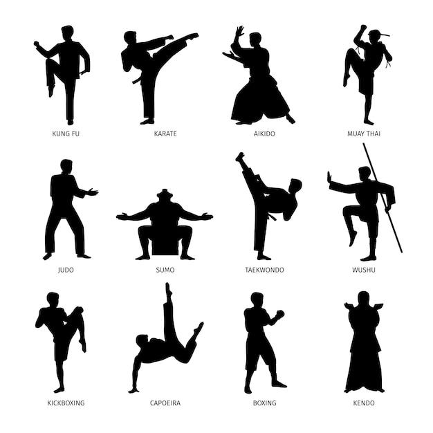 Silhuetas negras de artes marciais asiáticas Vetor Premium
