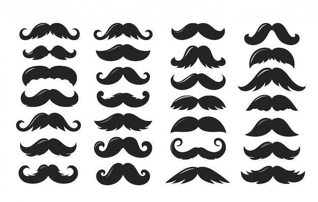 Silhuetas negras de coleção de vetores de bigode isolada Vetor Premium