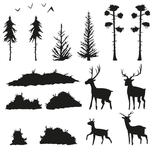 Silhuetas negras de pinheiros, abetos, arbustos, grama, veados e pássaros. conjunto de ícones planas de árvores da floresta e animais isolados no fundo branco. Vetor Premium