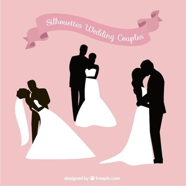 Silhuetas românticas de casais de casamento Vetor Premium